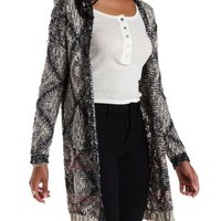 Black Combo Slub Knit Patterned Cardigan Sweater by Charlotte Russe
