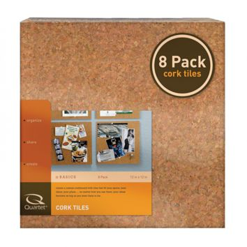 "Quartet Cork Tiles, 12"" x 12"", Cork Board, Bulletin Board, Mini Wall, 8 Pack (10"