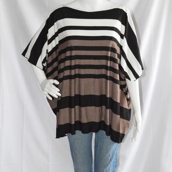 Striped Poncho Tee / Loose Tee / Kimono Tee / Off the Shoulder top / Striped Tunic Top / Nursing Top