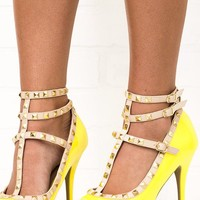 Saturday Stroll Yellow Studded Peep Toe Strappy Heels