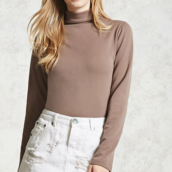 Micro-Ribbed Turtleneck Top