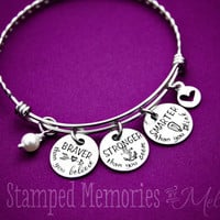 Braver than You Believe, Stronger than You Seem, Smarter than You Think - Hand Stamped Jewelry - Expandable Bangle Inspiring Quote Bracelet
