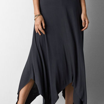 Washed Black Bottom Cut Out Maxi Skirt