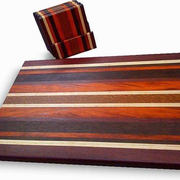 Handmade Large Wood Cutting Board with Matching Coasters -The Ultimate Gourmet - Black Walnut & Paduk