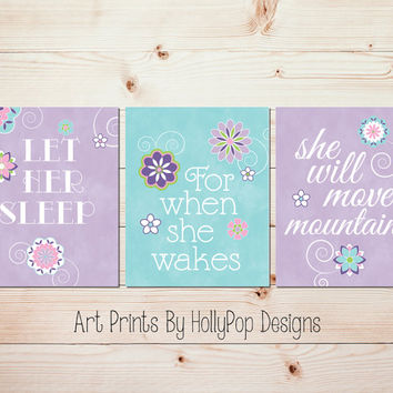 Baby Girl Nursery Wall Decor Girl Nursery Art Prints Let Her Sleep Quote Purple Aqua Wall Art Toddler Girl Bedroom Decor Baby Decor #1308