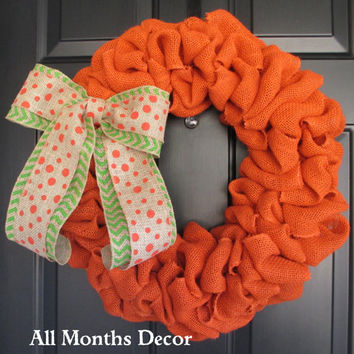 Orange Burlap Wreath with Orange Polka Dot over Lime Green Chevron Burlap Bow, Spring Easter, St. Patrick's, Pumpkin Color, Fall Autumn Door