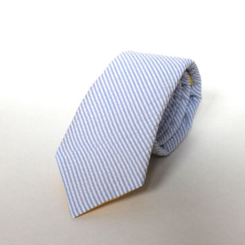 Men's Tie - Light Blue Seersucker - Pale Blue and White Stripes