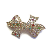 Rhinestone Bow Hair Clip, Rhinestone Bow Barrette, Valentine's Day Gift, Bridesmaids Gifts, Gifts for Her Gold Bow Barrette Sparkly Bow Clip