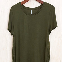 Year-Round Power Tee, Olive (Solid Version of the Flower Power Tee)