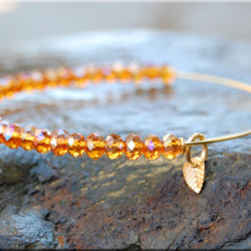 Indian Summer Beaded Bangle bracelet, Adjustable Jewelry, Expandable Beaded bangle, Czech Glass, stacking bangle, stacking bracelet