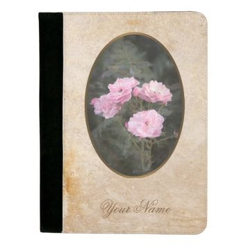 Vintage design. Photo of pink roses. Add your text Padfolio