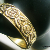Vintage Victorian Etched Relief Rose Flower Gold Bangle Bracelet