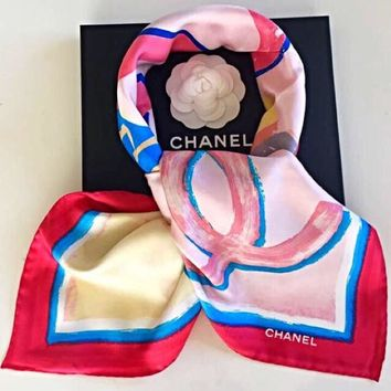 CHANEL Scarf Scarves Stole Coco Cuba Print Women Luxury Kawaii Auth New Rare 34""