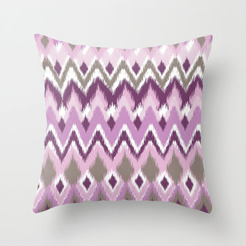 Aztec Tribal Purple iKat Inspired Pattern Design  Throw Pillow by TRM Design