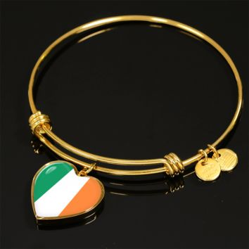 Irish Pride - 18k Gold Finished Heart Pendant Bangle Bracelet