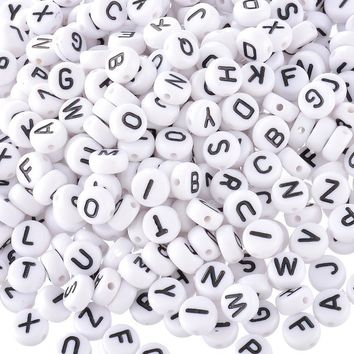 MJARTORIA Alphabet Beads Acrylic Bead with Letters 1000PCs White DIY Letter Beads For Bracelet Accessories for Jewelry Mixed 7mm