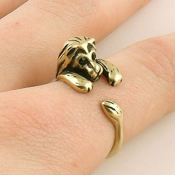 Animal Wrap Ring - Lion - Yellow Bronze - Adjustable Ring - keja jewelry
