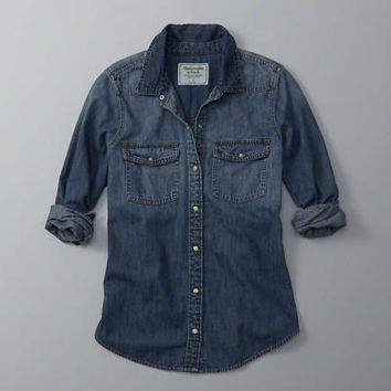 Womens Denim Button-Up Shirt | Womens Tops | Abercrombie.com