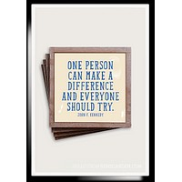 One Person Can Copper & Glass Coasters, Set of 4