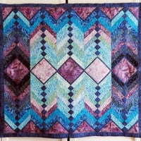 French Braid Quilted Batik Wall Hanging Table topper blues teals turquoise rose