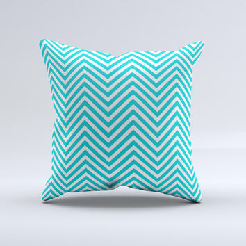 Trendy Blue & White Sharp Chevron Pattern Ink-Fuzed Decorative Throw Pillow