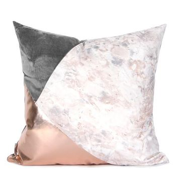 """Gray Rose Gold and Marble Three Color Pillow 18""""X18"""""""
