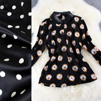 Dog Portraits Print Doll Collar Ruffle Sleeve Button Down Black Mini Dress