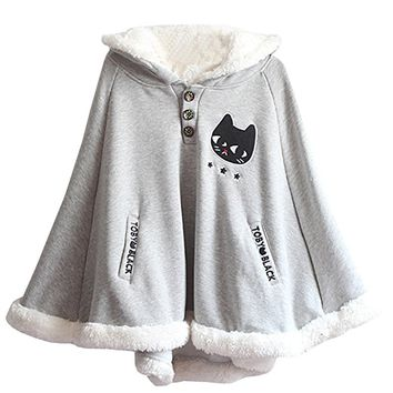 Partiss Womens Hooded Pullover Sweater Hoodie Cute Shawl Cape Lolita Coat