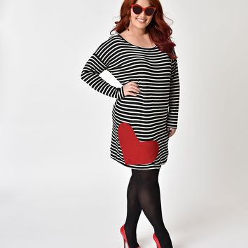 Retro Style Plus Size Black & White Striped with Red Heart Patch Shift Dress