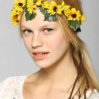 Sunflower Flower Crown Tie-Back Headwrap- Yellow One