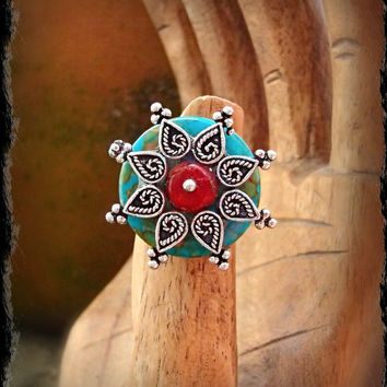 FLOWER RING Mandala ring Southwestern ring Turquoise ring Native ring Red coral Ring Adjustable ring Cowgirl ring statement ring