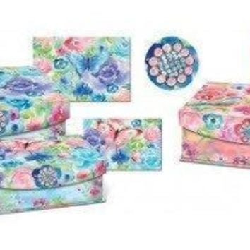 PAINTERLY ROSES - BROOCH FLAP TRINKET BOX SET OF 3 - Only 1 left