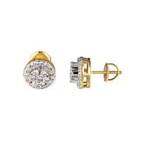 Solitaire Round Cut Earrings 14k Gold Finish Simulated Diamonds Screw Back Studs