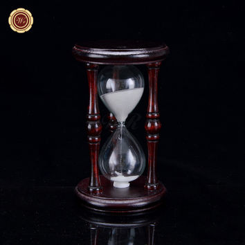 WR Lager Size Time Stand Wooden Hourglass Art Craft Decor Glass Timer Sand Handmade Decoration Crafts Birthday Gift