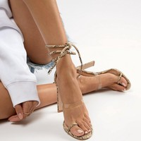 Simmi Vanessa snake clear detail heeled sandals at asos.com