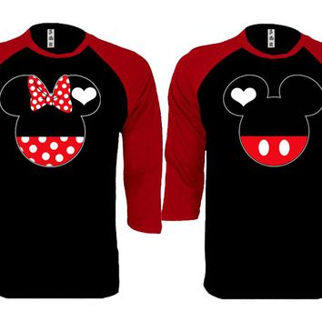 Mickey Minnie Couple Matching Love Set Baseball T-shirt