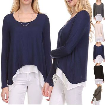 Scoop Neck Inner Contrast Double Layered Asymmetrical Hem Long Sleeve Top