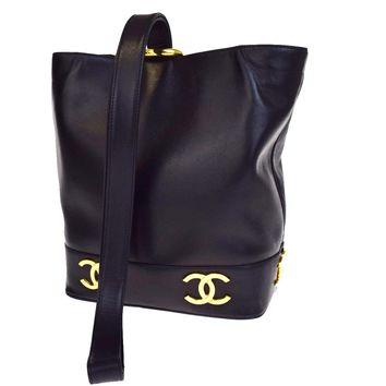 Authentic CHANEL Triple COCO Logos One Shoulder Bag Leather Black Italy 29B1255