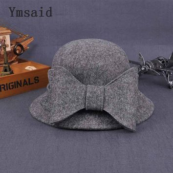 Ymsaid Europe US Korean Fall Winter Women's Fedora Caps Vintage Sun Hat For Woman Lady Wide Brim Wool Felt Bowknot Hat