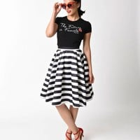 1950s Style Black & White Striped High Waist Swing Skirt