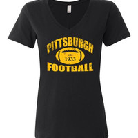 Pittsburgh Steelers Football Ladies V-Neck