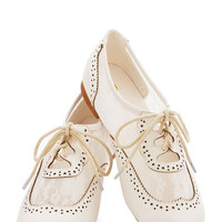 ModCloth Vintage Inspired Marina Ballerina Flat in White