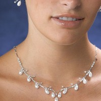 Pearl Drop Necklace and Earring Jewelry Set