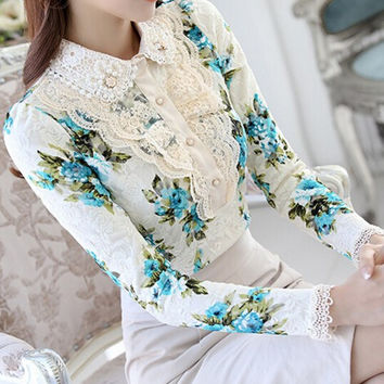 Free Shipping High Quality  New Arrival Elegant Peter Pan Collar Beads Flower Printed Woman Long Sleeve Lace Shirt