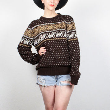 Vintage Nordic Sweater Brown Tan Beige DEER Knit Jumper Nordic Jumper Boho Moose Christmas Sweater Pullover Boho Boyfriend Sweater M Medium