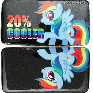 Licensed cool NEW My Little Pony Rainbow Dash 20% Cooler Glitter Snap Hinge Wallet Case Brony