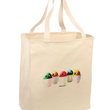 Kawaii Easter Eggs - No Text Large Grocery Tote Bag by TooLoud