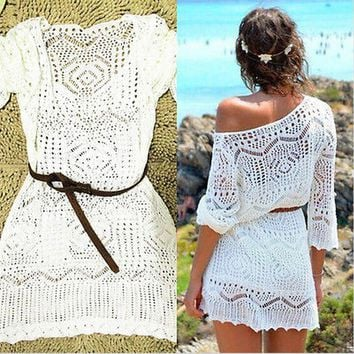 with belt 2016 Beach White Crochet Saida De Praia plus size swimwear cover ups Patchwork Embroidery Sexy bathing suit cover ups