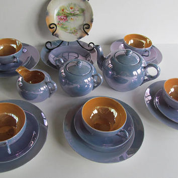 Beautiful Blue Luster Luncheon set Pastel Dining Decor, Blue Lusterware Tea Set Lusterware Teapot sugar and Creamer set, Art Deco Lusterware