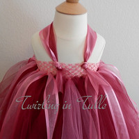Burgundy and Pink Tulle Flower Girl Dress  Size 5-6